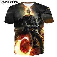 Camiseta 3D hombres fuego quema calavera motocicleta camisetas Tops verano gótico Anime Camiseta Camisa Masculina Camiseta Camisa de hombre EUR