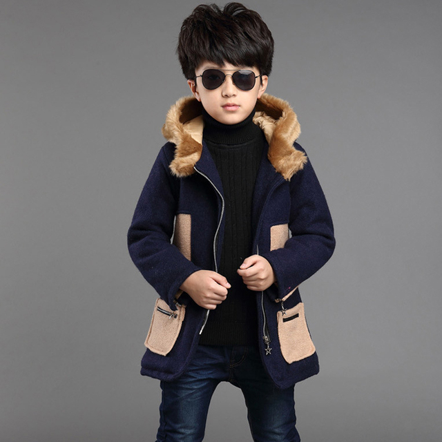 boys medium-long coats Boys coats in the autumn and winter children's greatcoats outerwear child casual woolen overcoat jackets