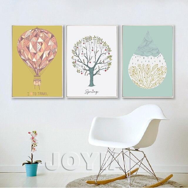 Minimalismus Leinwand Kunstdruck Poster Luftballon Bäume Regen Tropfen Wand  Bilder Für Kinder Baby Schlafzimmer Wohnzimmer Decor