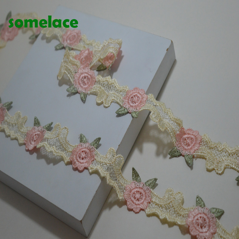 Flat Lace Ribbon Trim  33mm wide White with Pink Yellow Orange Edges