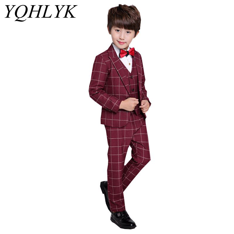New Fashion Autumn Spring Boy Suit 2018 Korean Children Prom Suit Coat + Vest + Trousers Gentlemen Handsome Kids Clothes W105