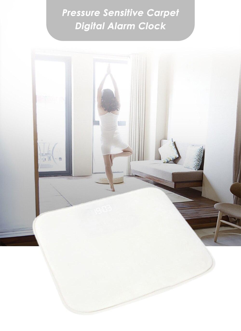 Pressure Sensitive Alarm Clock Rug Carpet Home Bed Room LED Digital Display