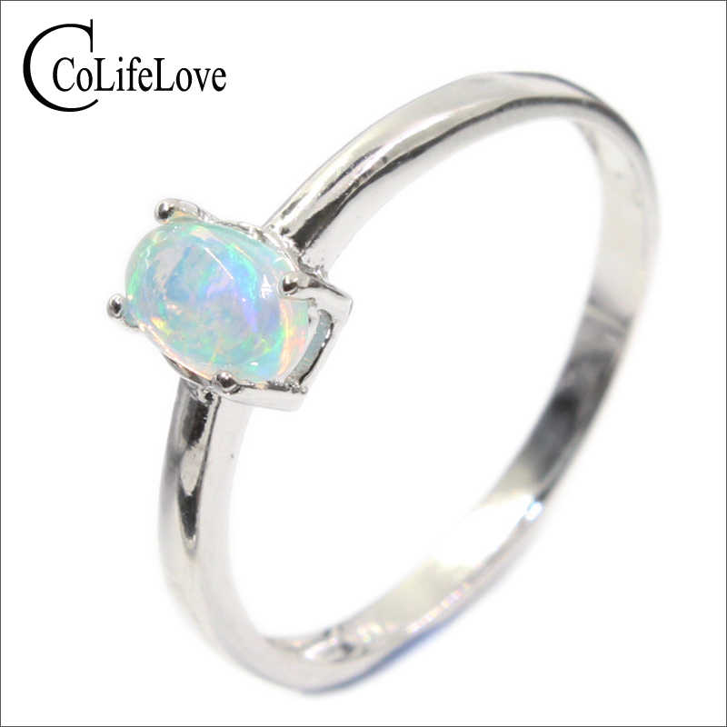 100% natural opal ring for engagement 4 mm * 6 mm brilliant opal silver ring real 925 sterling silver opal ring romantic gift