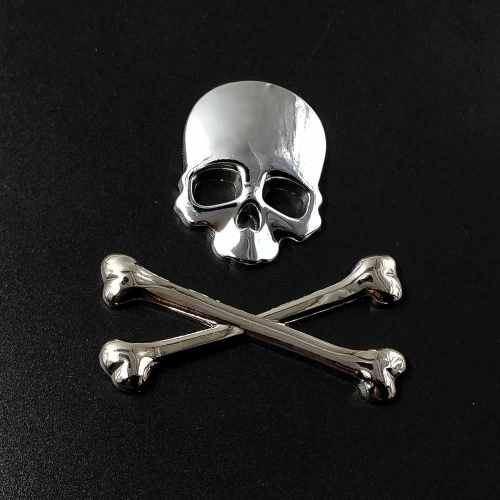 Stainless Alloy Auto Motorcycle 3D Skull Cross Bones Logo Emblem Sticker Decal