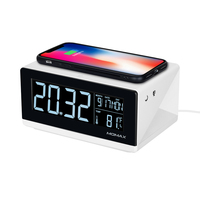 LED Digital Alarm Clock Time Date Temperature Display with Qi Wireless Charging Pad Home Bedroom Office Clocks US Plug
