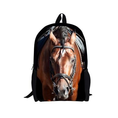 ELVISWORDS Horse 3D Printing School Bag for Teenager Kids Children Casual Book Shoulder Bags Book Bags Backpack Schoolbags