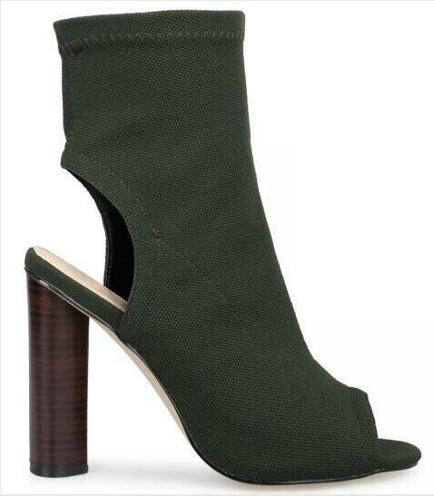ФОТО Newest 2016 Designer Black Green Beige Denim Ankle Boots Peep Toe Cut-out Back Heel Thick Heel Women Short Boots Size 10