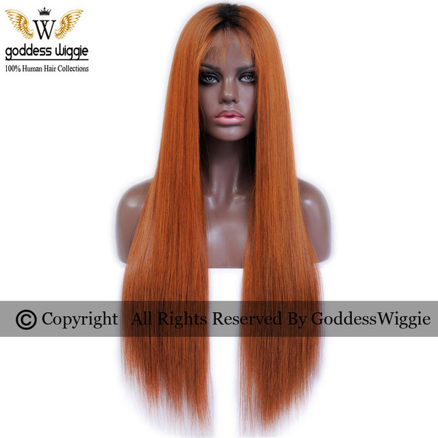 6A 200Density Ombre Copper Human Hair Wigs Remi Human Hair Silky Straight Lace  Front Wigs For Women Copper Ombre Lace Wigs 34fc647771