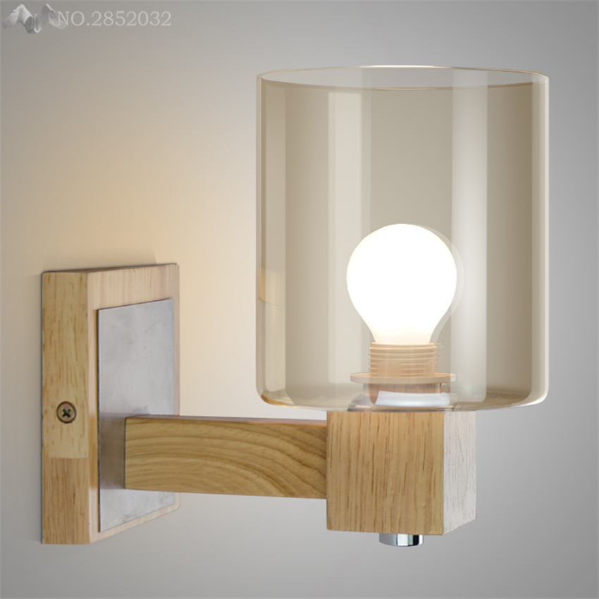Nordic minimalist solid wood wall lamp amber glass wall lights for living room bedroom bedside lamp home lighting fixtures decorNordic minimalist solid wood wall lamp amber glass wall lights for living room bedroom bedside lamp home lighting fixtures decor