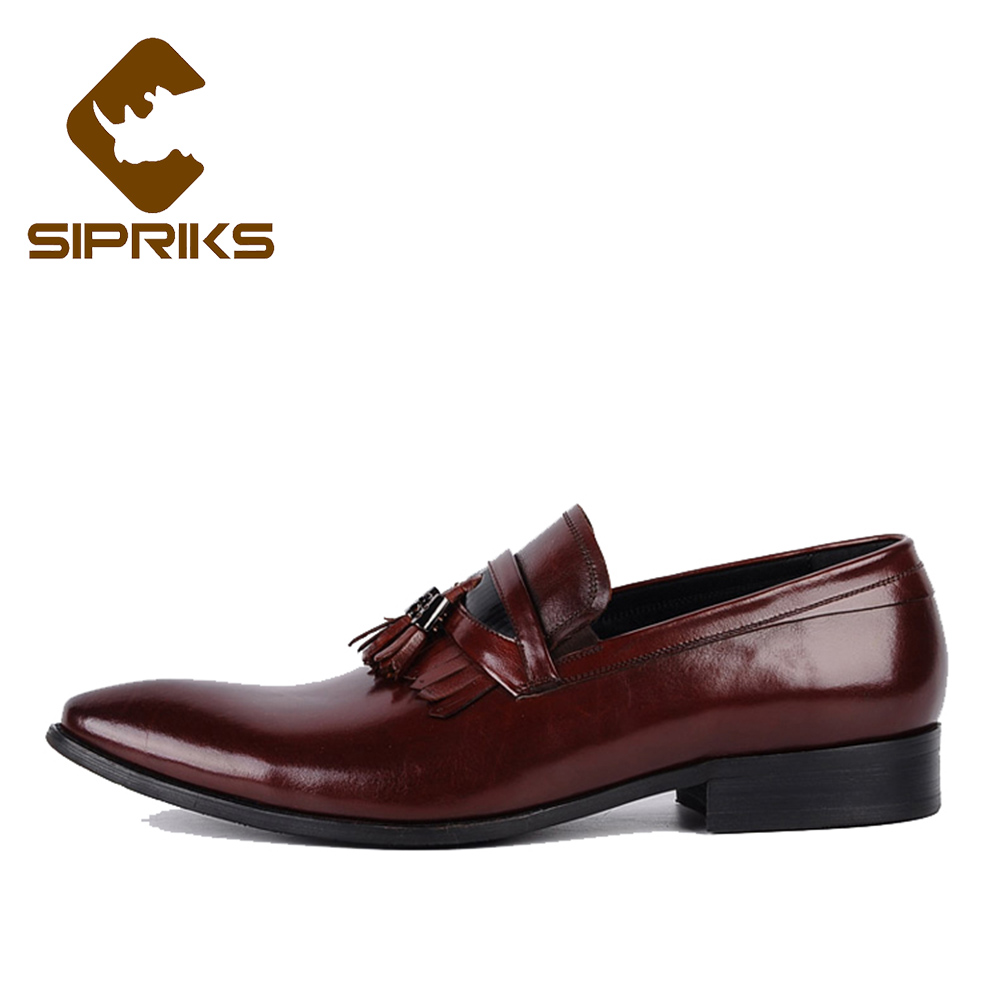 e399146dd2 Sipriks mens slip on dress shoes with tassel genuine leather loafers for  men classic burgundy spiked loafers men european flats