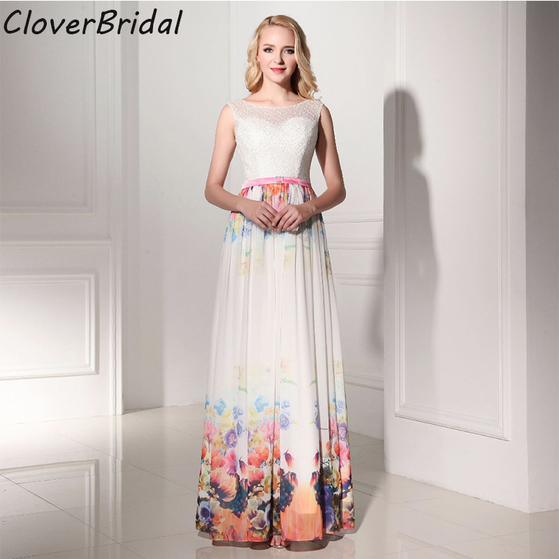2016 hot sale in stock lace chiffon A-line printed flowers graduation dresses with belt for high school girls Robe de Soiree