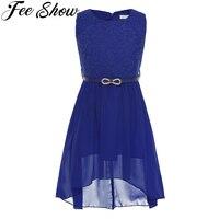 Feeshow Kids Girls Chiffon Lace Floral Sleeveless Flower Girl Dress Princess Wedding Birthday Party Dress With
