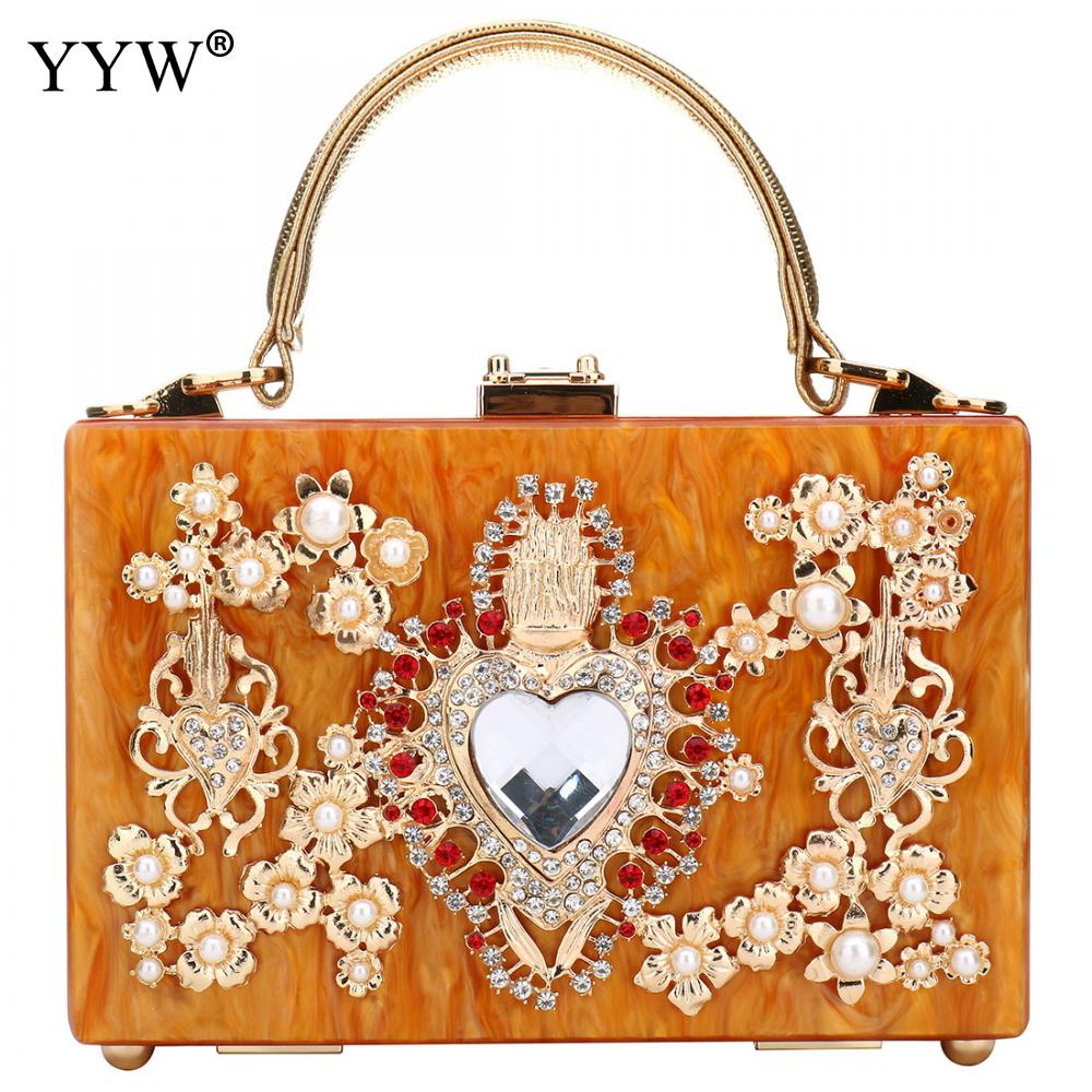 Acrylic Women'S Handbag Evening Clutch Bag Elegant Shoulder Crossbody Diamond Studded Flower Handbag Rhinestone Rectangle Tote-in Top-Handle Bags from Luggage & Bags    1
