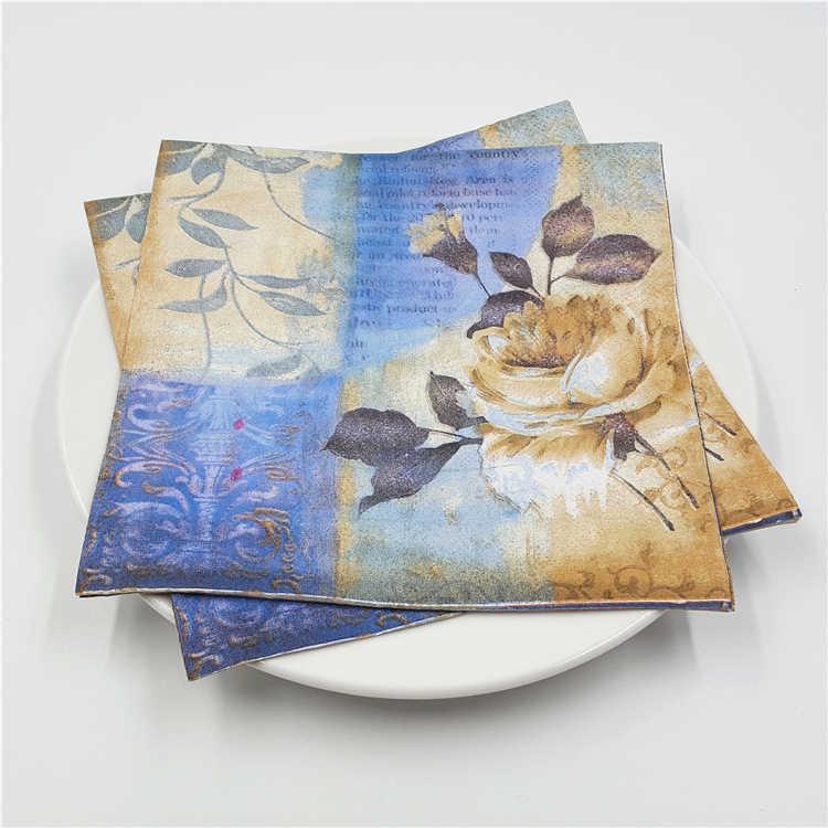 20 Винтаж стол бумажные салфетки ткани Розовые розы синяя птица бабочка декупаж Свадебная вечеринка дома Кафе Декор serviettes