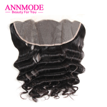 Annmode Human Hair Lace Frontal Closure Free part 13*4 Non-Remy Peruvian Loose Wave 8-18inch Free Shipping