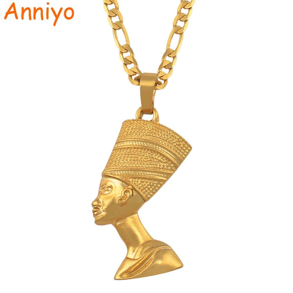 Anniyo מלכה מצרית נפרטיטי תליון שרשראות לנשים גברים תכשיטי זהב צבע סיטונאי תכשיטי אפריקאי מתנה #163506