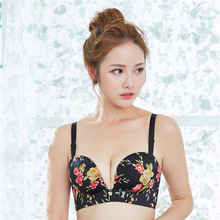 Good quality seamless underwear bra finger shape palm cup push up one piece gather chest big size double sexy 32-38
