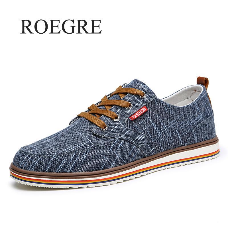 ROEGRE Big Size 46 47 48 Breathable Mens Shoes Sales Lace Up Canvas Shoes Luxury Brand Men Shoe Designer 2018 China Cheap Shoes