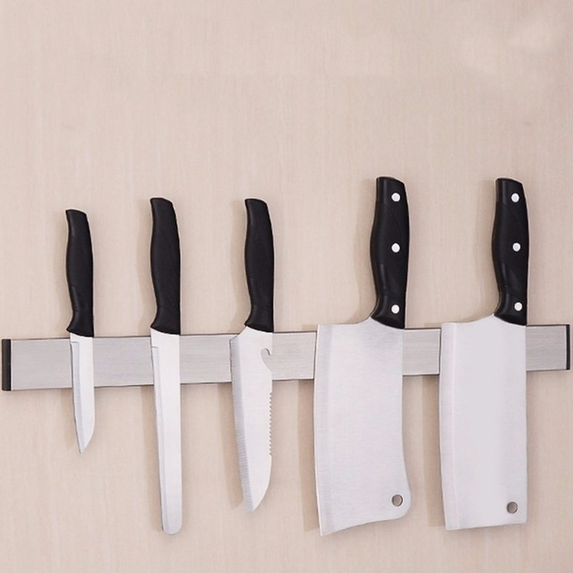 Magnetic Self Adhesive Knife Holder Stand Stainless Steel Block Wall  Mounted Easy Storage Knife Rack