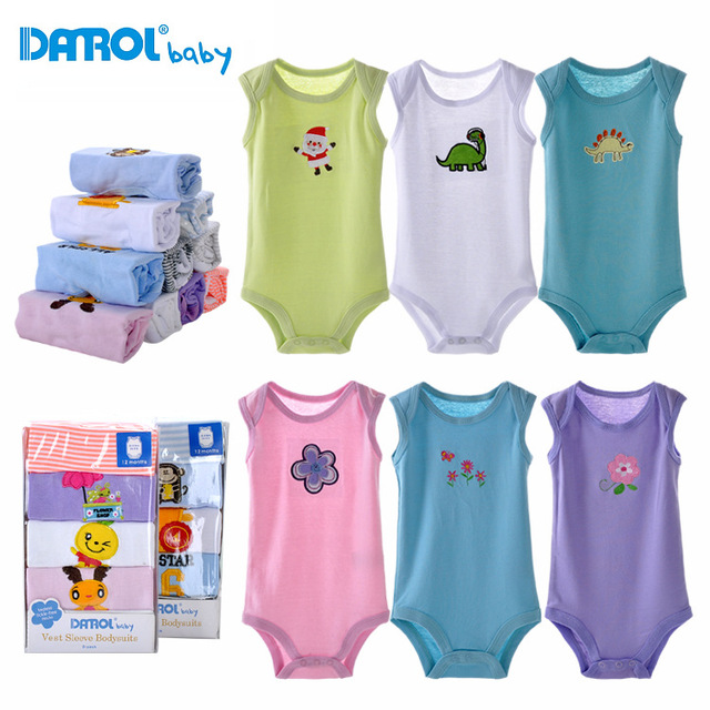 5 peças do bebê bodysuits danrol triângulo sem mangas meninos meninas clothing bodysuits recém-nascidos de algodão 3-24 m v20