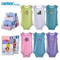 5 unidades bebé danrol monos sin mangas niños girls clothing triángulo recién nacido ropa para bebés de algodón 3-24 m v20