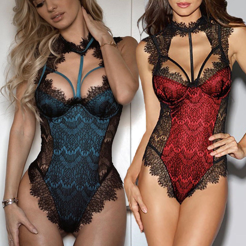 Sexy Women's Lace Floral Lingerie Exotic Hot Bodysuits Nightwear Female Bandage Underwear G-string Babydoll Sleepwear Teddies