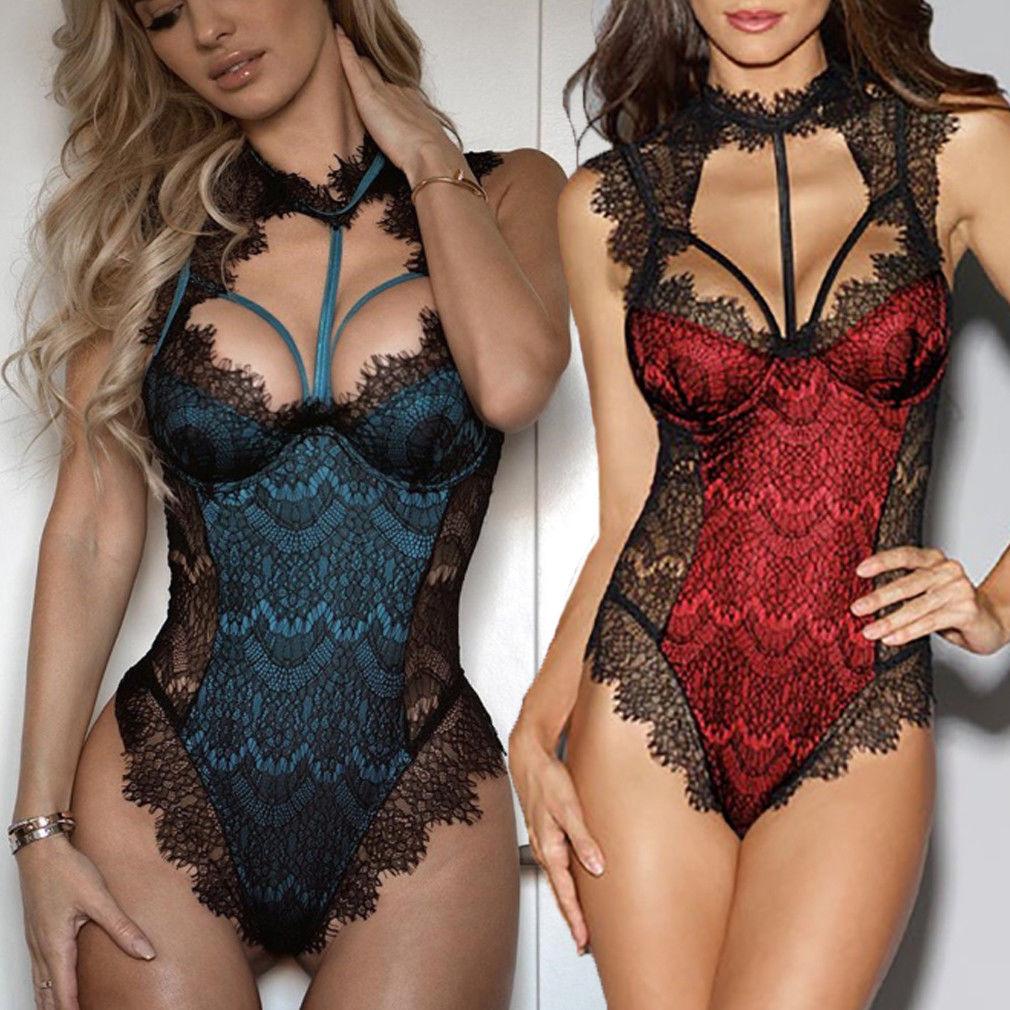 Sexy Women's Lace Floral Lingerie Exotic Hot Bodysuits Nightwear Female Bandage Underwear G-string Babydoll Sleepwear Teddies