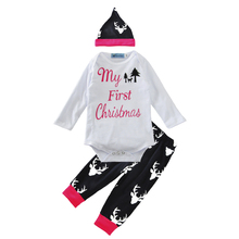 girls clothing sets christmas letter romper+deer head pants+hats fashion 3pcs baby clothes cute cartoon animal boys clothing set