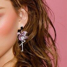 eManco Purple Bird Flamingo Asymmetry Dangle Drop Earrings for Women New arrival Earrings Fashion Jewelry