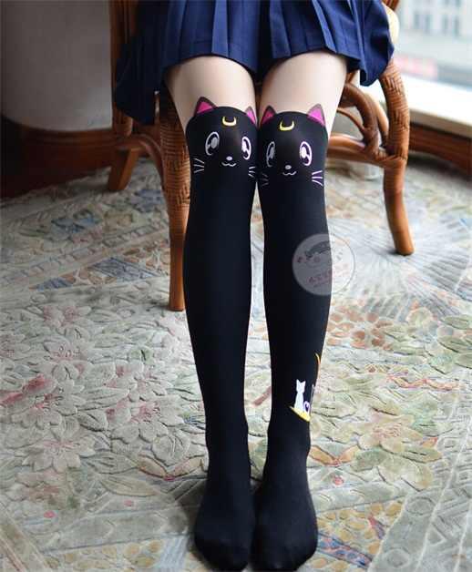 398596b438590 ... Anime Sailor Moon Cosplay Luna Cat Pattern Pantyhose Tights Socks  Stockings 3D Print Black White ...