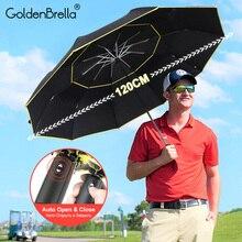 Large Umbrella Women Double-Big Rain 3folding Business 120CM Fully-Automatic Wind-Resistant