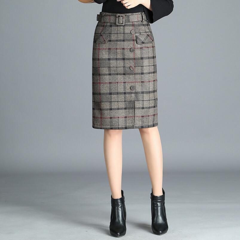 2018 automne hiver femmes jupe en laine femme mode taille haute jupe crayon OL grande taille décontracté longue jupe jupes femmes SK221