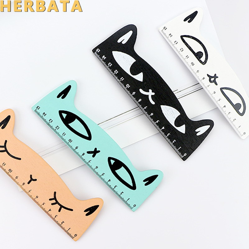 1PC Kawaii Cat Design Ruler Funny Stationery Wooden Rulers Office Accessories School Escolar Kids Study Supplies CL-1304