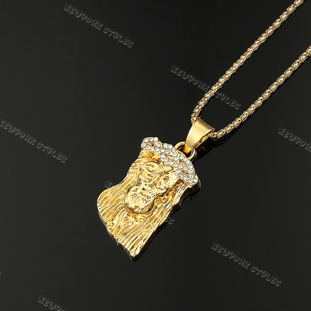 Jesus piece charm micro mini pendant popcorn chain necklace iced jesus piece charm micro mini pendant popcorn chain necklace iced out 24k gold plated 315 aloadofball Image collections