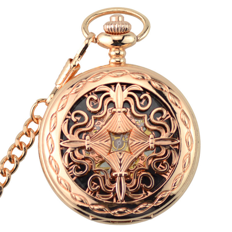 Rose Gold Skeleton Automatic Mechanical Pocket Watch Men Vintage Hand Wind Clock Necklace Pocket & Fob Watches With Chain Gifts retro skeleton automatic hollow mechanical pocket watch men vintage hand wind clock necklace pocket