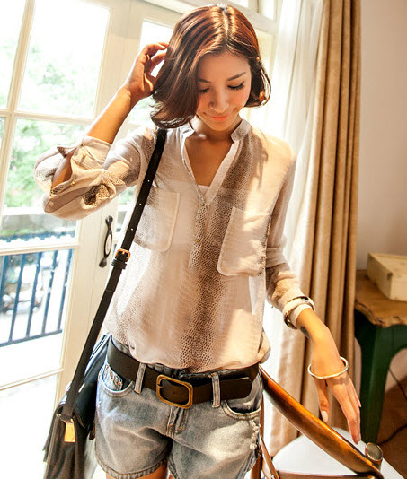 2013 New Women White See Through Blouse Long Sleeve Vintage Chiffon