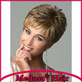Medusa hair products: Free shipping Synthetic pastel wigs for women Short pixie cut straight brown blonde wig with bangs SW0417A