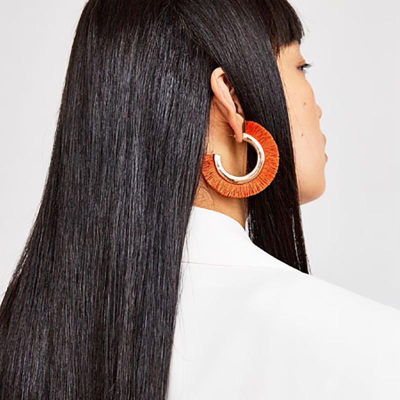 Vintage Maxi Big Orange Fransen Ohrringe Für Frauen Modeschmuck - Modeschmuck - Foto 1