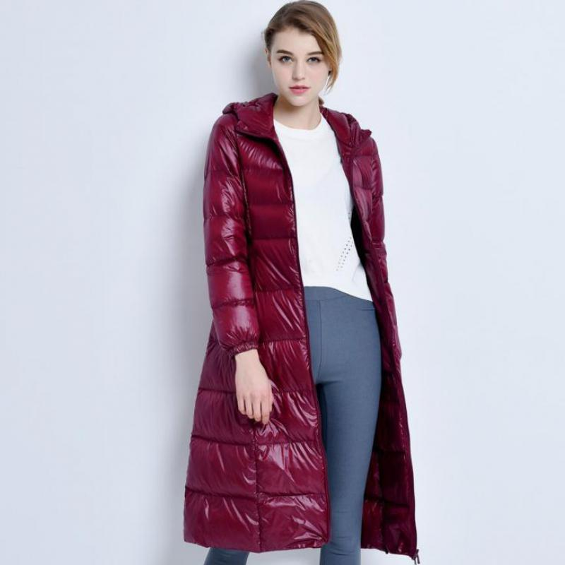 Womens Winter Ultra Light Down Jackets 2019 Females Super-long Paragraph Over Knee Hooded Cap New Fashion Slim Overcoats