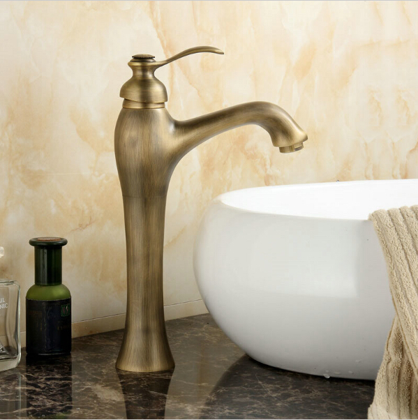 Bathroom Basin Mixer Taps Antique Brass Finished Hot and Cold Deck Mounted with ceramic torneiras para banheiro crane AF1023-in Basin Faucets from Home Improvement    1