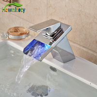 Wholesale And Retail Brass Chrome Finish Basin Faucet Deck Mount LED Waterfall Spout