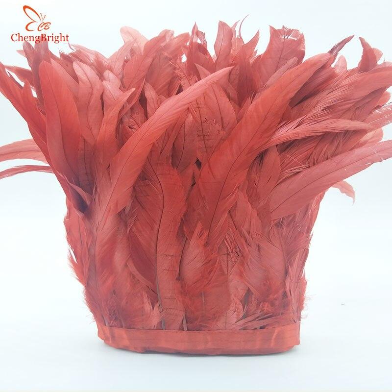 Ev ve Bahçe'ten Tüy'de ChengBright 10 Metre 10 12 inç Genişlik Kırmızı horoz kuyruğu tüyü Trim Coque Tüy Kırpma El Sanatları Elbise Etek Kostümleri Tüyleri'da  Grup 1