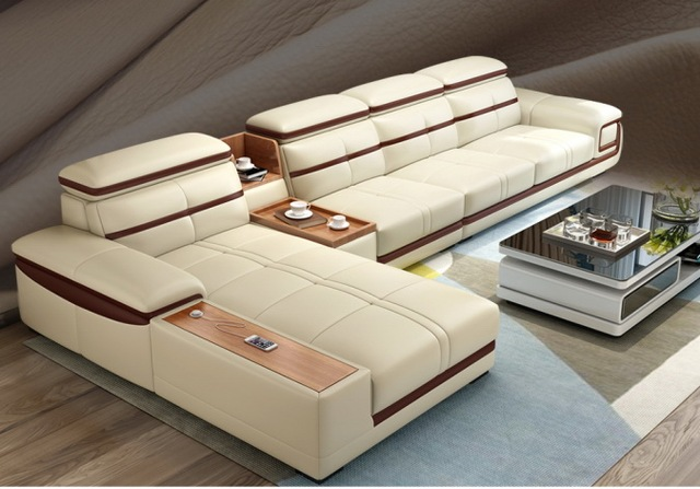 Living Room Sofa Corner Sectional Real Genuine Leather Sofas L With Storage Cup Holder Muebles De Sala Moveis Para Casa