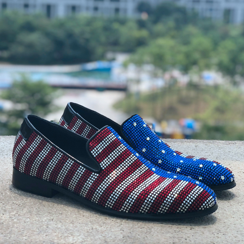 Hottest Comfortable Casual Shoes Loafers Men Shoes Spring 2019 Multicolor Crystal Decorated Male Fashion Show Footwear ShoesHottest Comfortable Casual Shoes Loafers Men Shoes Spring 2019 Multicolor Crystal Decorated Male Fashion Show Footwear Shoes