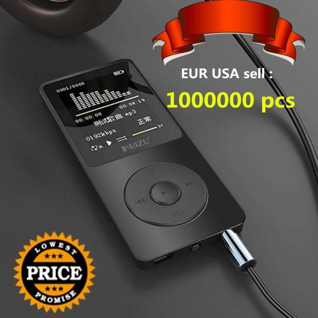 """RUIZU Оригинал 1,8 """"MP3 плеер 4 ГБ высокое качество звука начального уровня без потерь мини музыкальный плеер с FM радио голос Регистраторы E-Book"""