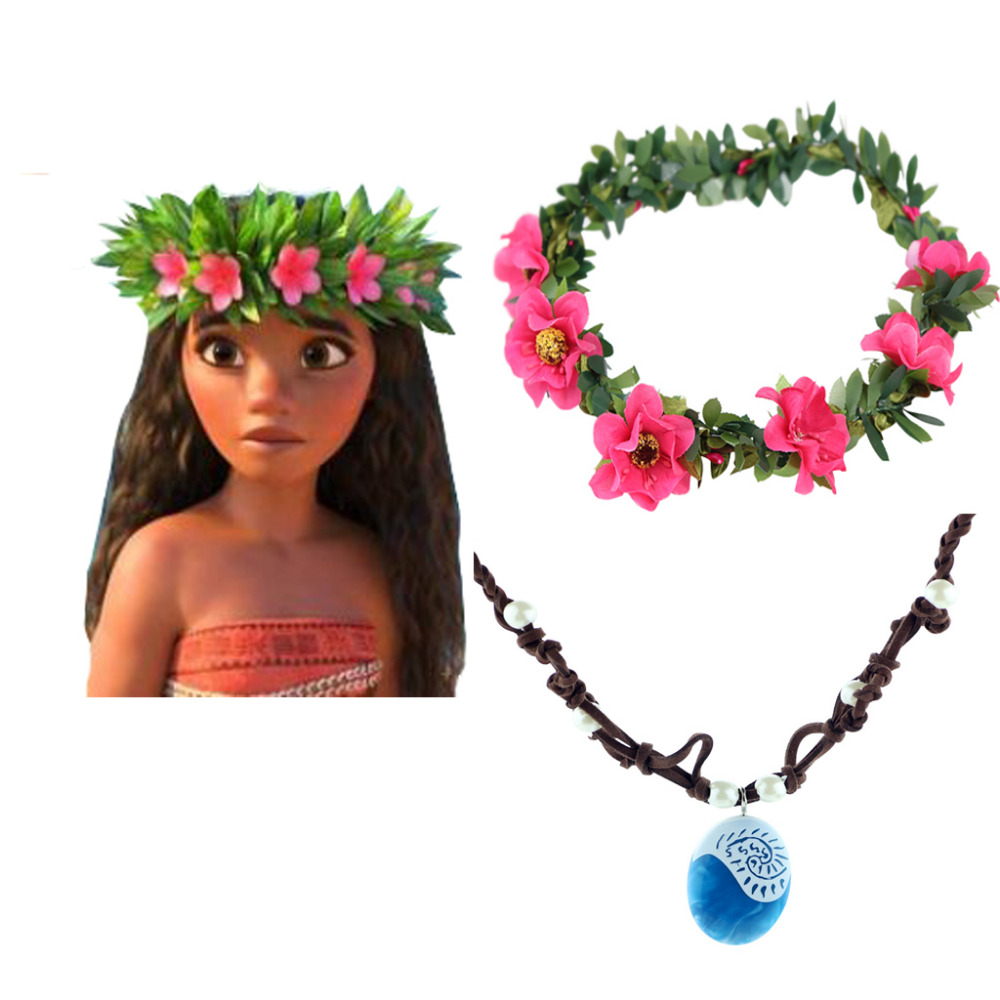 Princess Moana Flower Headwear Cosplay Accessories Necklace Lady's Girls Floral Hoop Garland Chain Wedding Bride Headdress