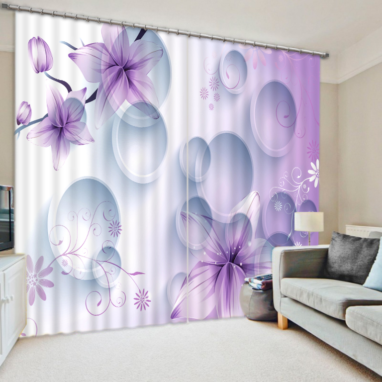 Luxury Curtains 3D Window Curtain For Living Room Bedroom Shade Girls Room Curtain fantasy circle flower Drapes Cortinas