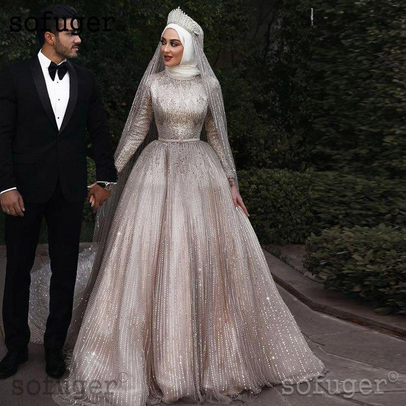 Champion Arabic Sequins Sparkly Long Sleeve Court Train 2019 Muslim Arabic Wedding Dress Boho Sofuge Vestido De Noiva