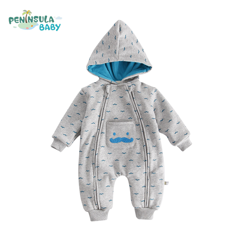 Newborn Baby Romper Cartoon Beard Pocket Double Zipper Long Sleeve Cotton Infant Toddler Hooded Clothes Winter Boy Girl Jumpsuit down cotton baby winter overalls kids boy hooded baby clothing girl newborn romper long sleeve jumpsuit solid zipper baby onesie