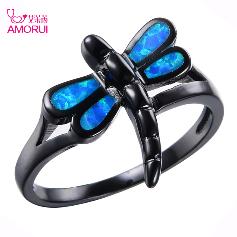Amorui Marke Tier Libelle Ringe Fur Frauen Manner Mode Blau Opal